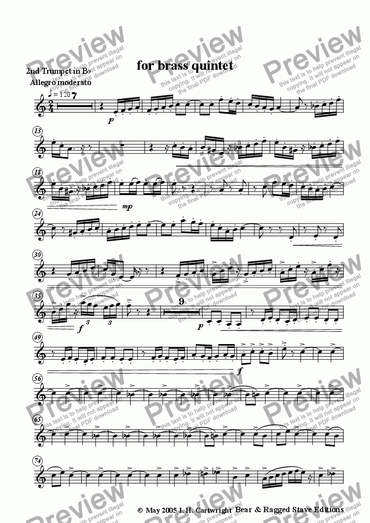 page one of the 2nd trumpet Bb part from Danse Bacchanale for brass quintet