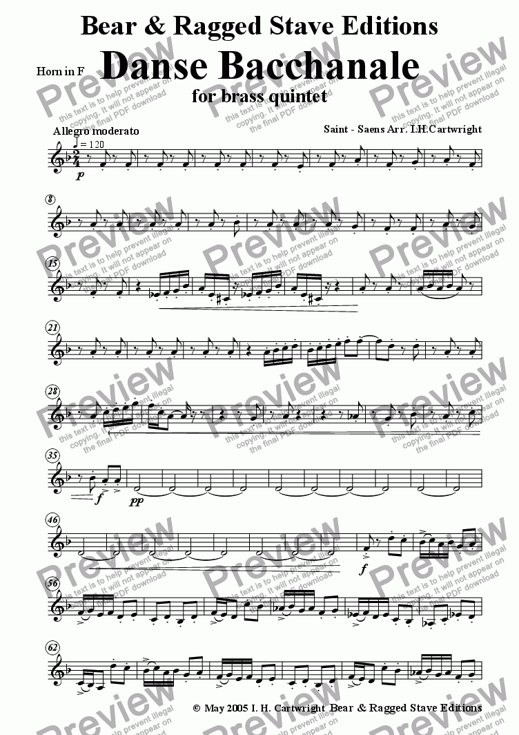 page one of the Horn in F part from Danse Bacchanale for brass quintet