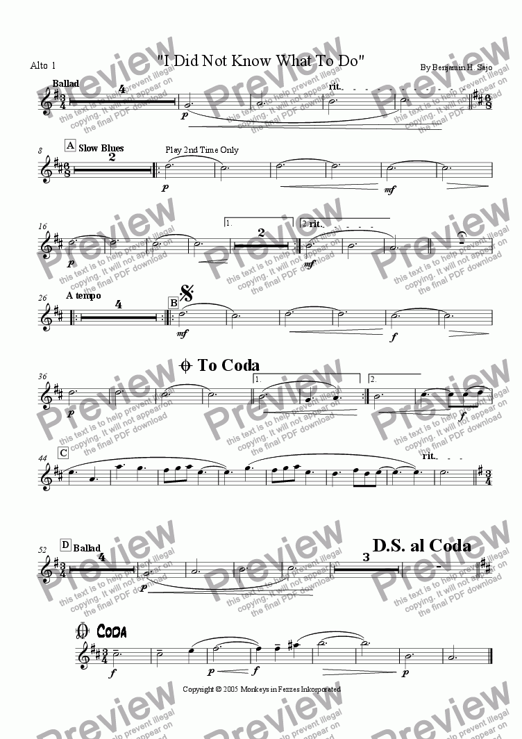 page one of the Alto Sax 1 part from I Did Not Know What To Do