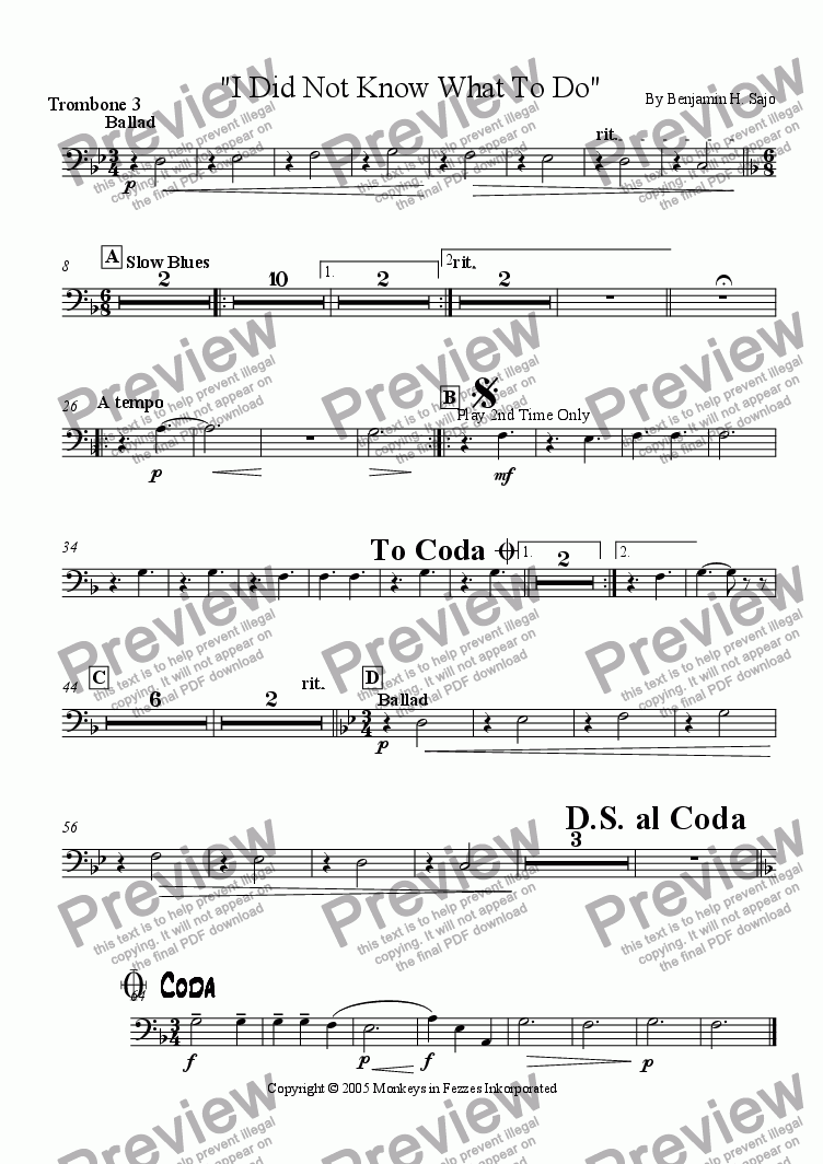 page one of the Trombone 3 part from I Did Not Know What To Do