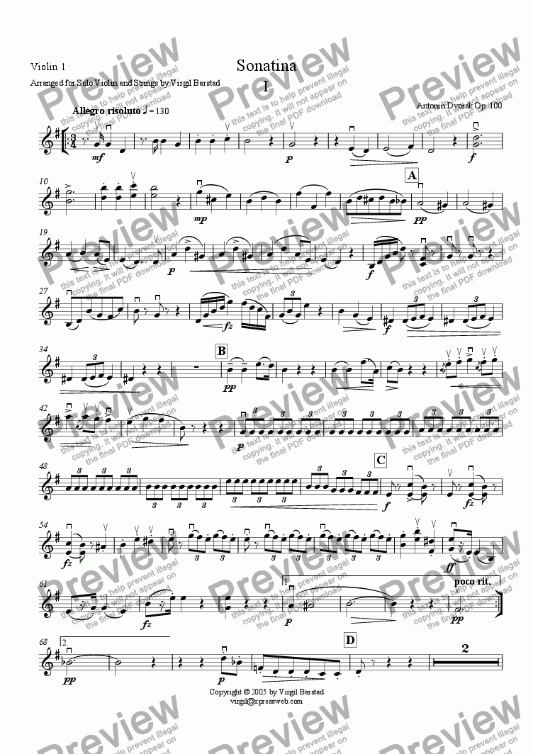 page one of the Violin 1 part from Sonatina - I