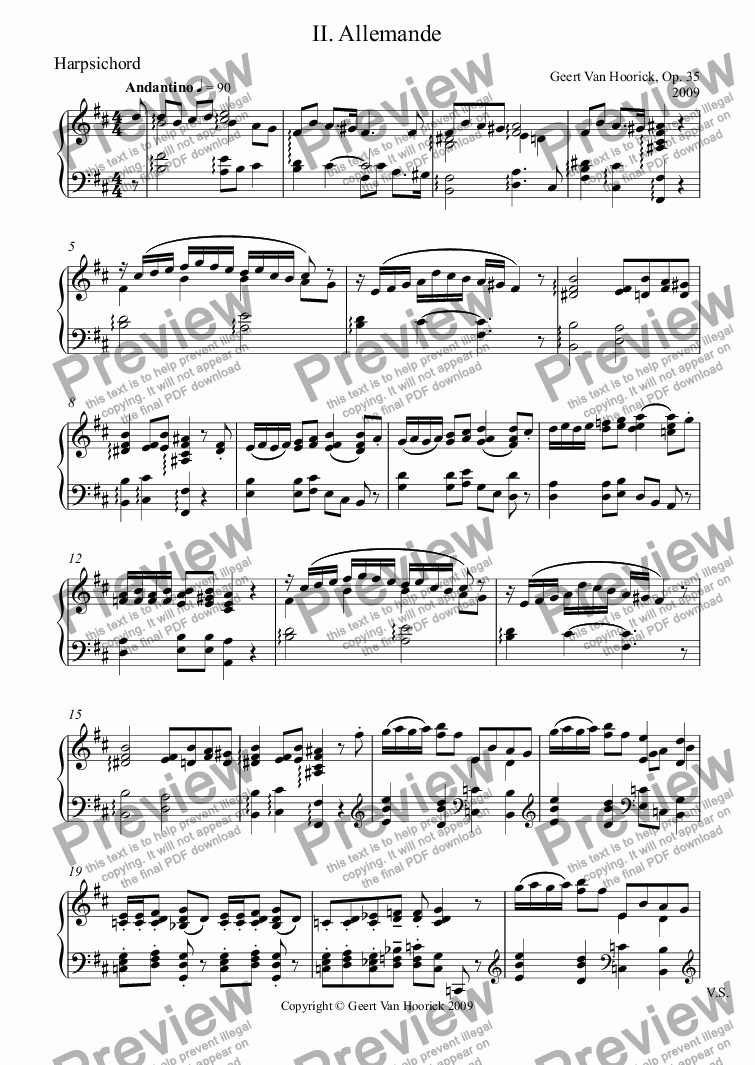 page one of the Harpsichord part from Ancient dances (Sonata No. 3) for oboe and harpsichord, Op. 35 - II. Allemande