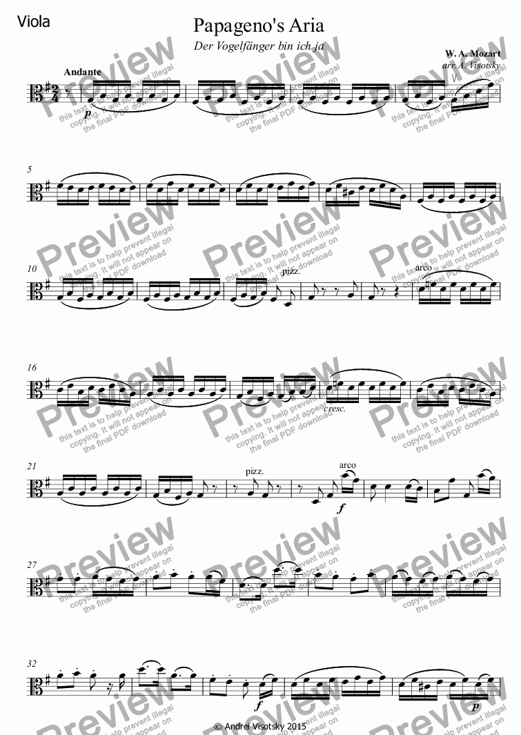 page one of the Viola part from Papageno's Aria