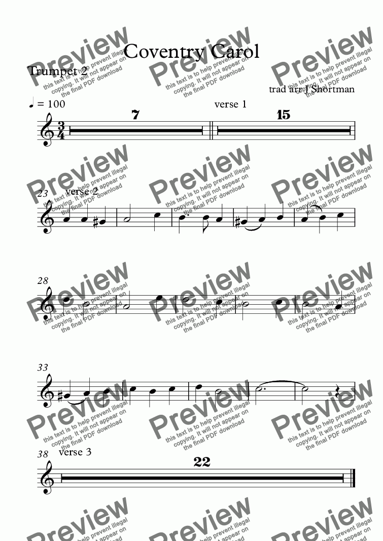 page one of the Trumpet 2 part from Coventry Carol - SATB, trumpet duo & descant