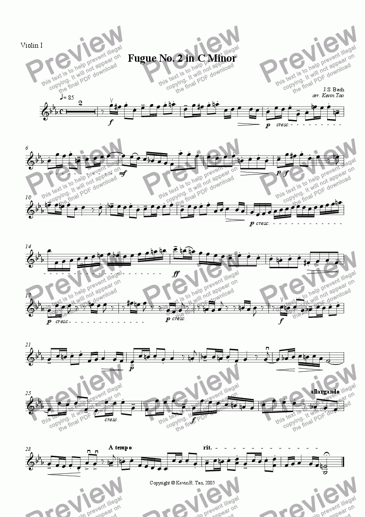 page one of the Violin I part from Fugue No. 2 in C minor from the Well-Tempered Clavier, Book 1