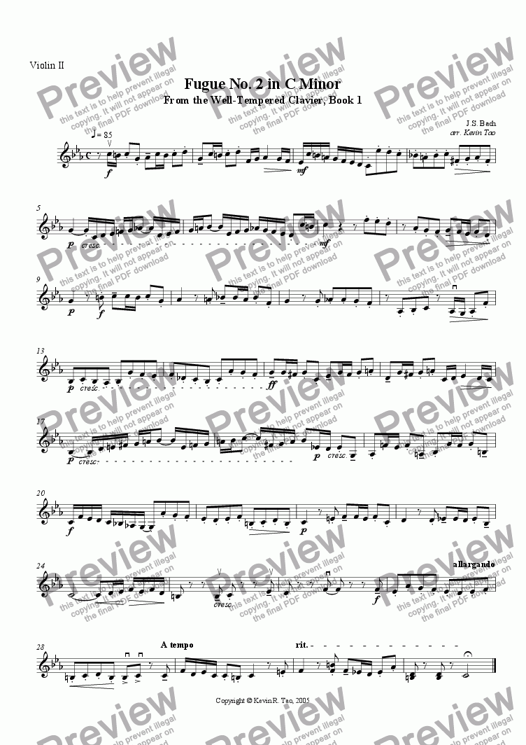 page one of the Violin II part from Fugue No. 2 in C minor from the Well-Tempered Clavier, Book 1