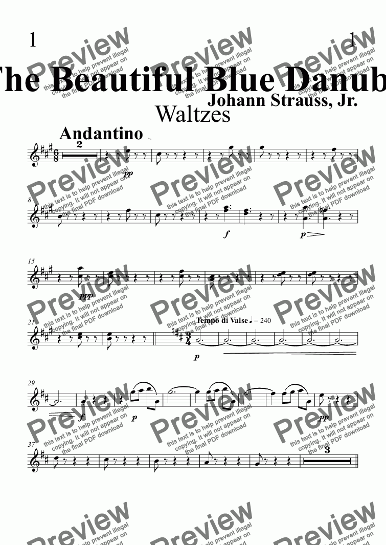page one of the Oboe part from The Beautiful Blue Danube Waltzes