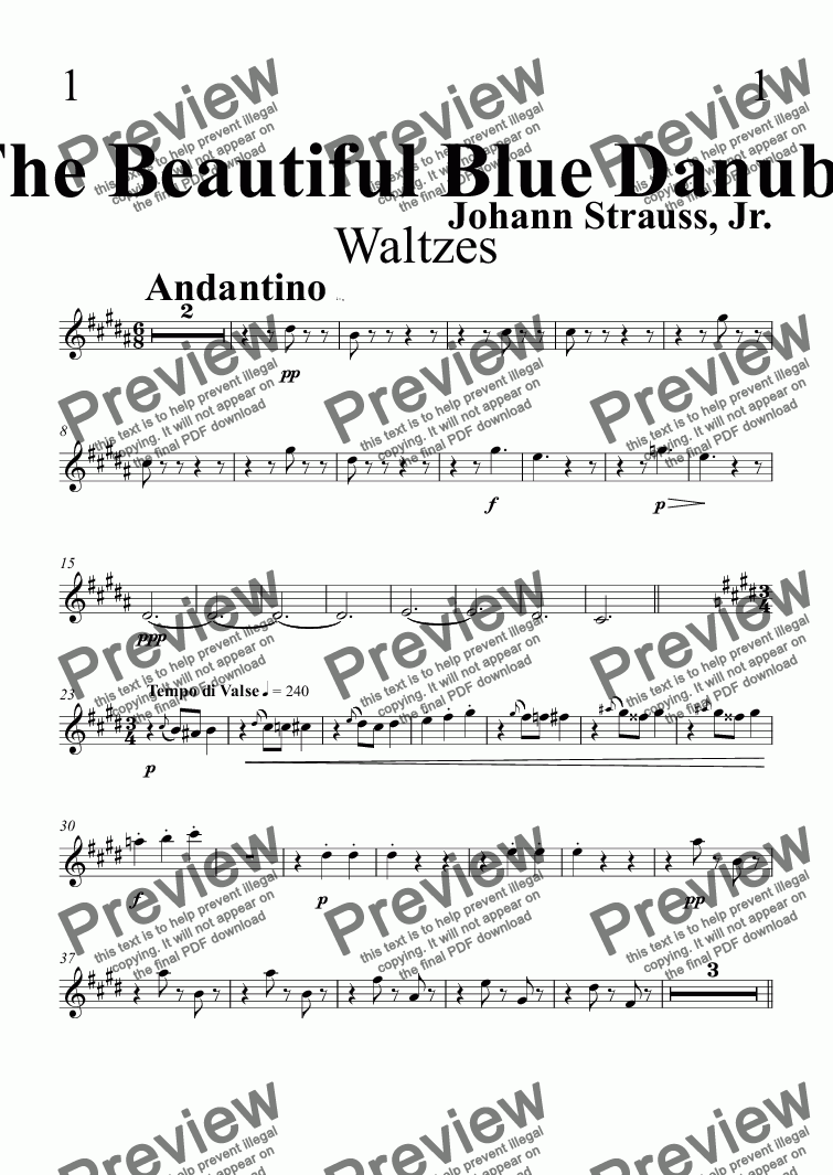 page one of the Clarinet in B^b 1 part from The Beautiful Blue Danube Waltzes