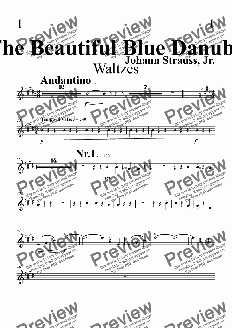 page one of the Trumpet in B^b 1 part from The Beautiful Blue Danube Waltzes
