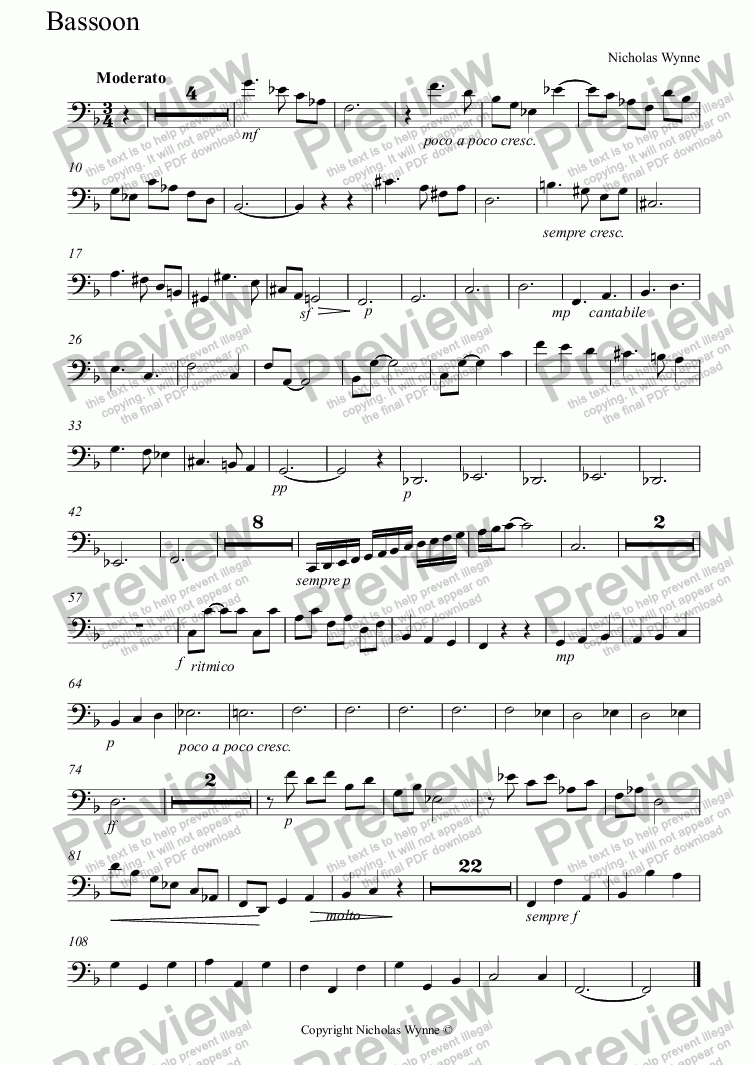 page one of the Bassoon part from Trio for B Clarinet, Bassoon and Piano