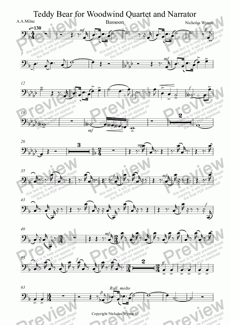 page one of the Bassoon part from Teddy Bear for Narrator and Woodwind Quartet