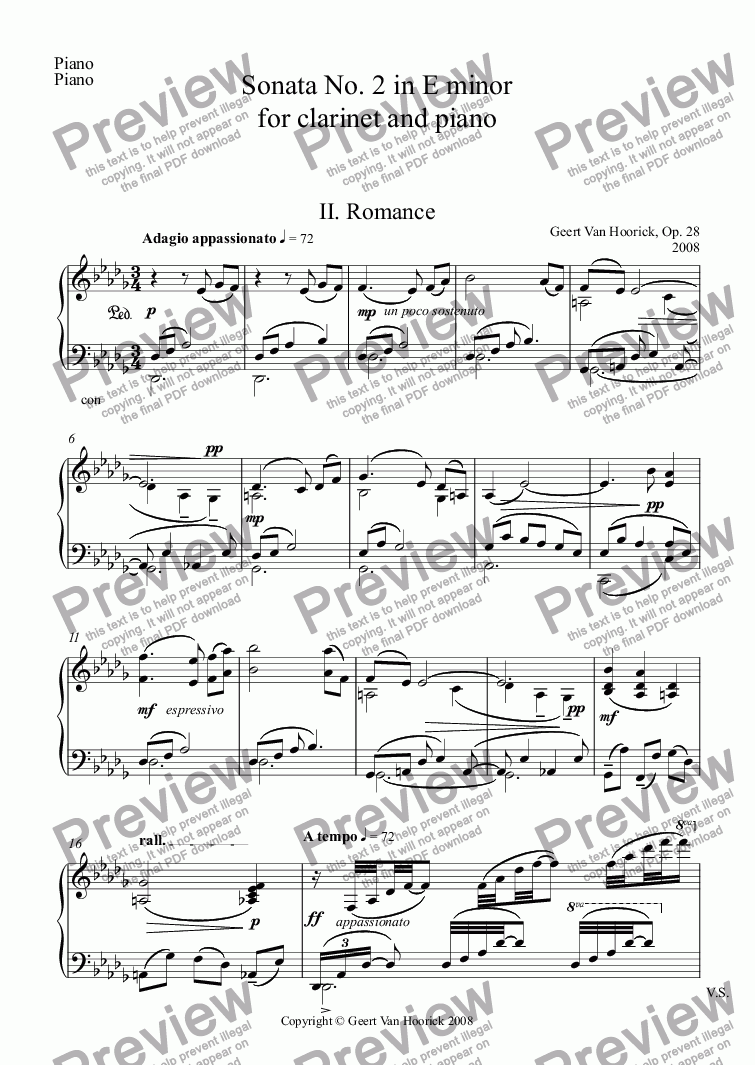 page one of the Piano part from Sonata No. 2 in E minor for clarinet and piano, Op. 28 - II. Romance