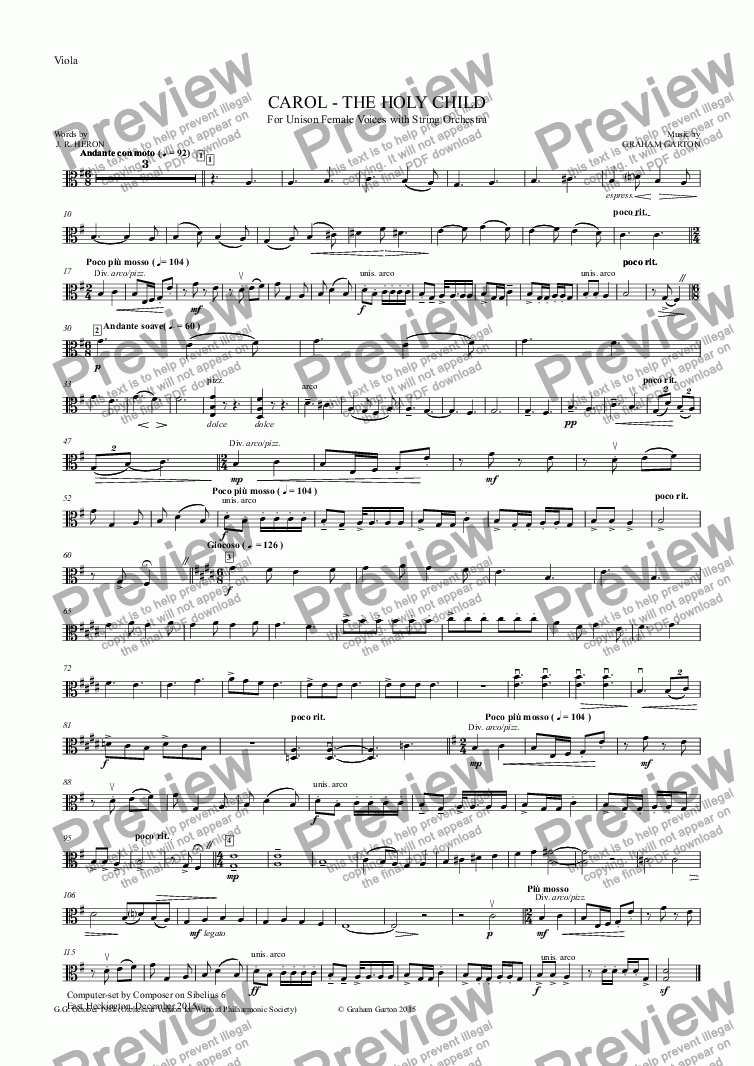 page one of the Viola part from CAROL - 'Scena' - 'THE HOLY CHILD' for Unison Female Voices with STRING ORCHESTRA - Words: J. R. HERON