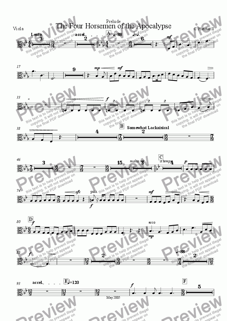 page one of the Viola part from The Four Horsemen of the Apocalypse - Prelude