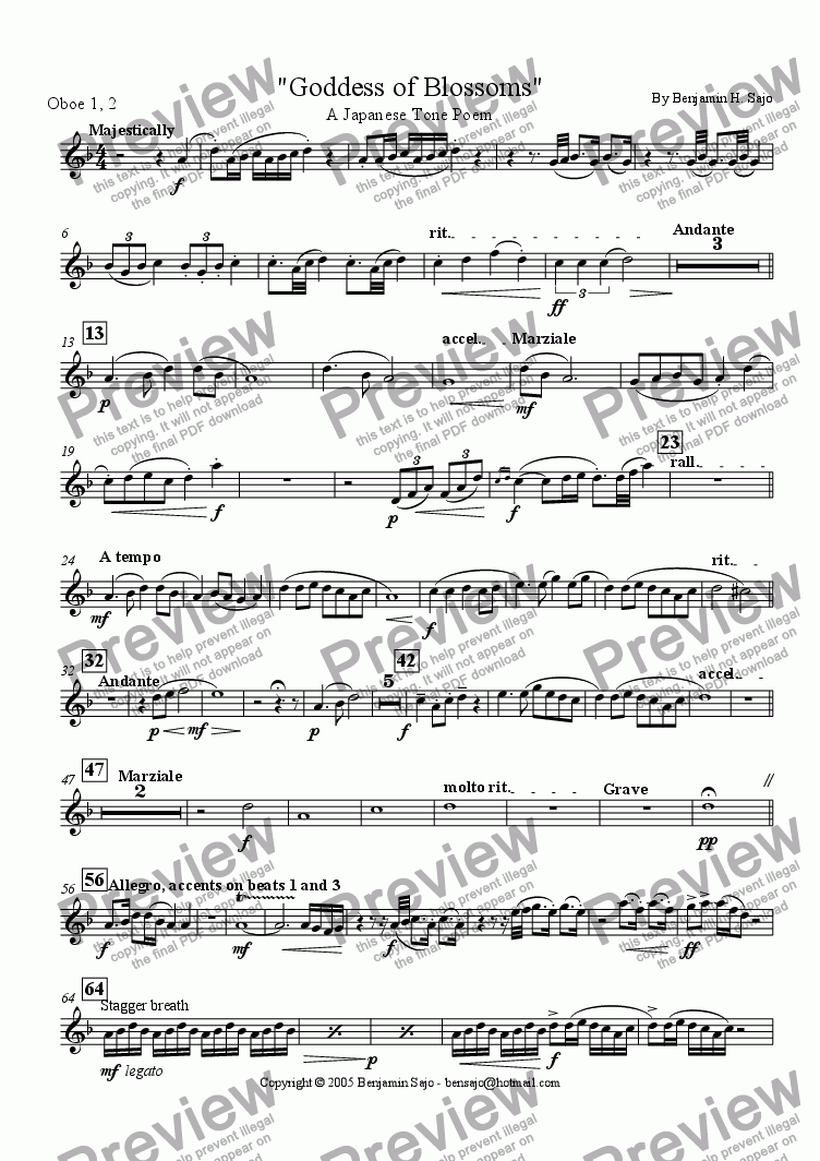 page one of the Oboes 1,2 part from Goddess of Blossoms - Tone Poem for Concert Band