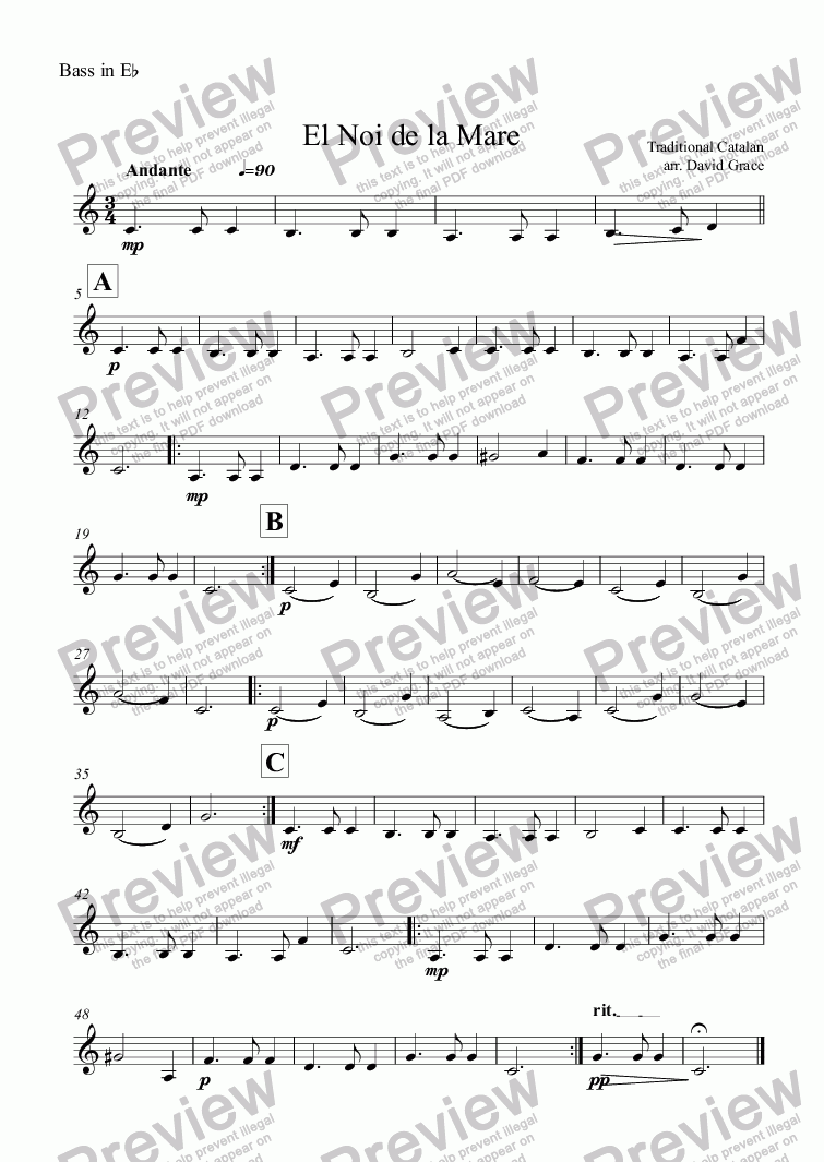 page one of the Bass in E^b part from El Noi de la Mare [Catalonian Carol]