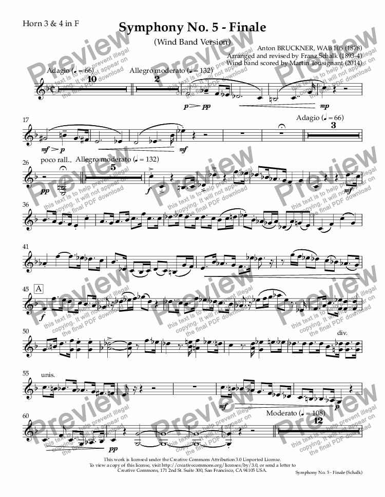 page one of the Horn 3 & 4 in F part from Symphony No. 5 - Finale