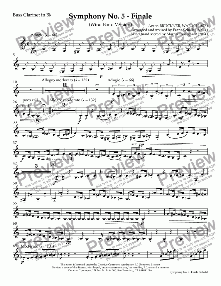 page one of the Bass Clarinet in B^b part from Symphony No. 5 - Finale