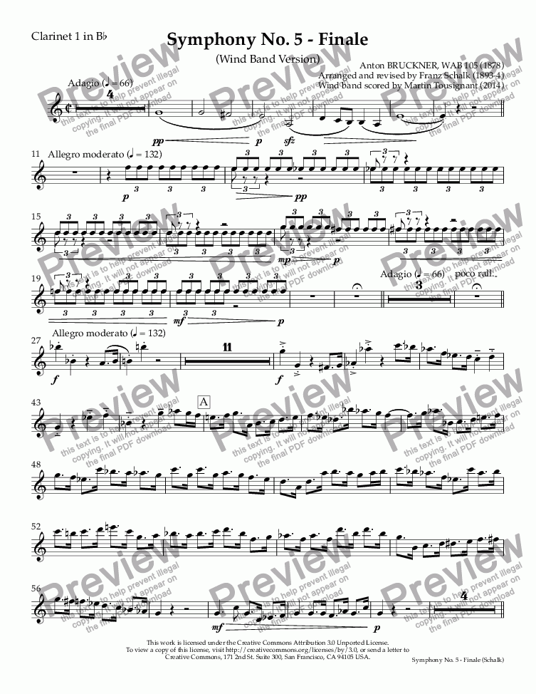 page one of the Clarinet 1 in B^b part from Symphony No. 5 - Finale