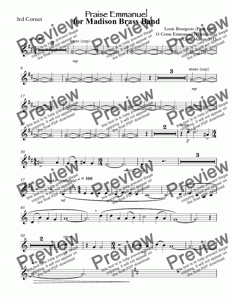 page one of the 3rd Cornet part from Praise Emmanuel