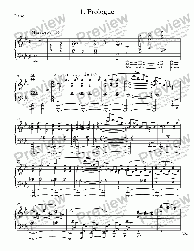 page one of the Piano part from 1. Prologue
