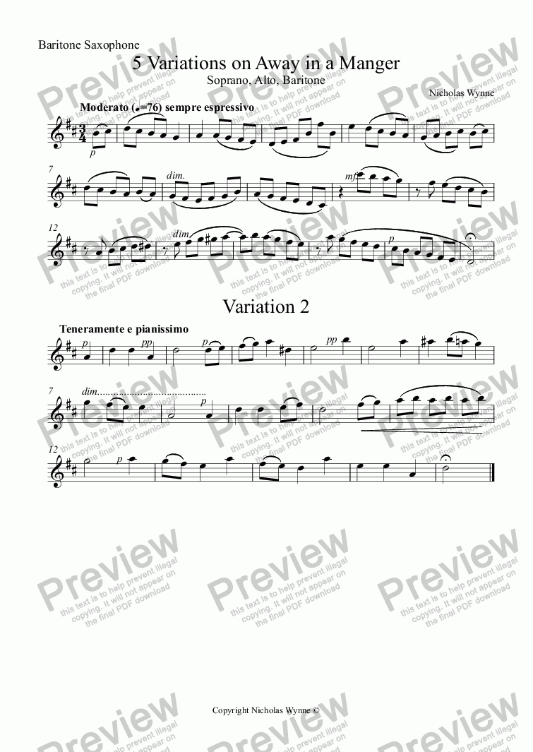 page one of the Baritone Saxophone part from 5 Variations on Away in a Manger for Saxophone Trio