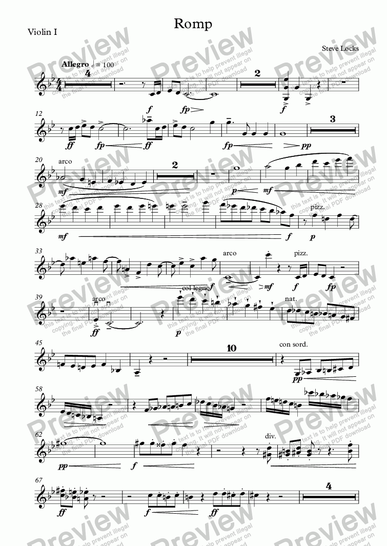 page one of the Violin I part from Romp