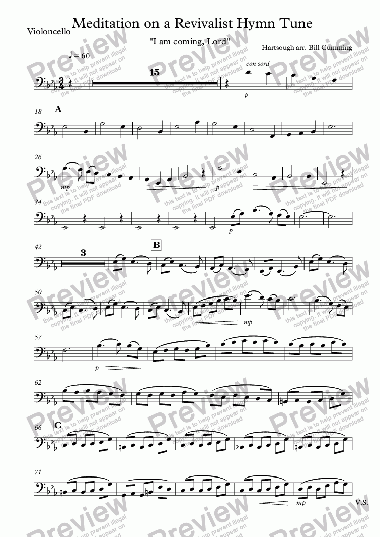 "page one of the Violoncello part from ""Meditation on a Revivalist Hymn Tune"" for string orchestra"