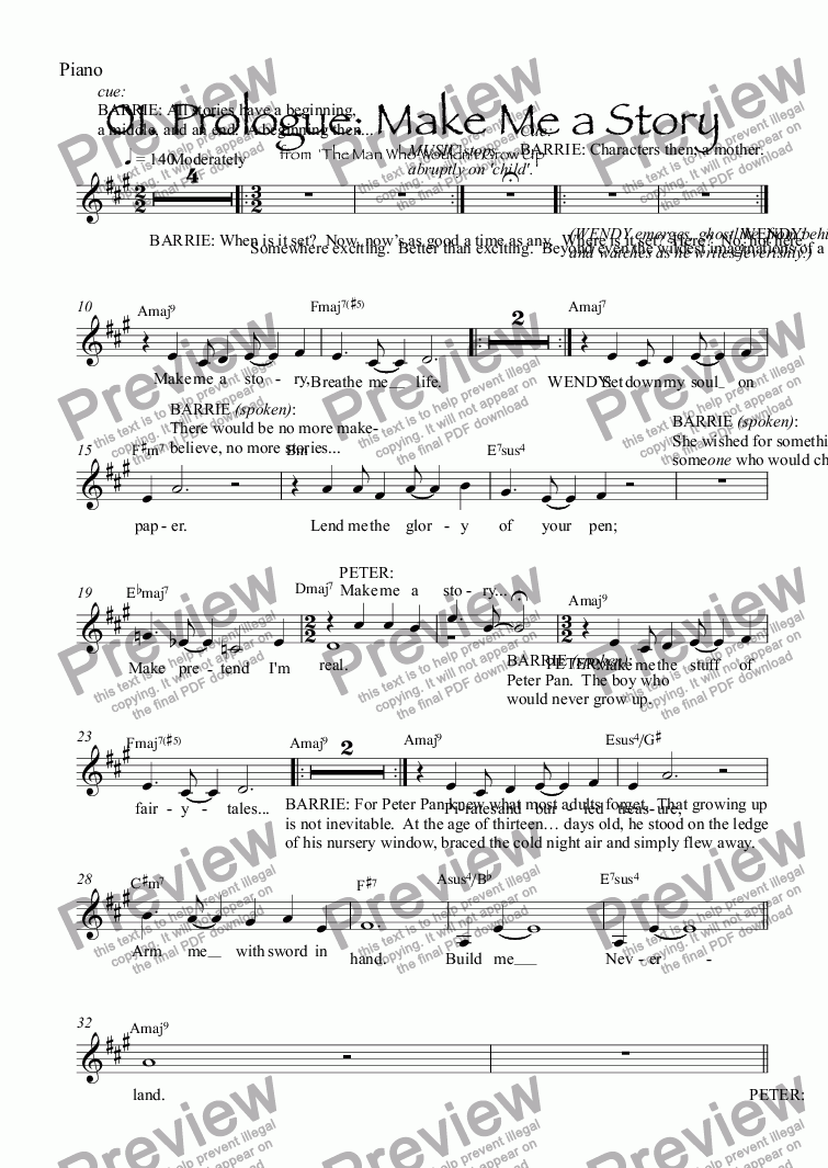 page one of the Piano part from 01. Prologue: Make Me a Story