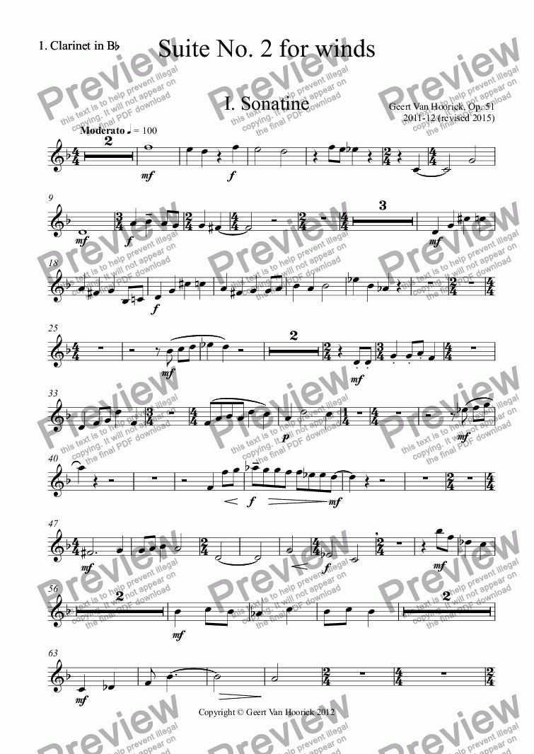 page one of the 1. Clarinet in B^b part from Suite No. 2 for winds, Op. 51 - I. Sonatine