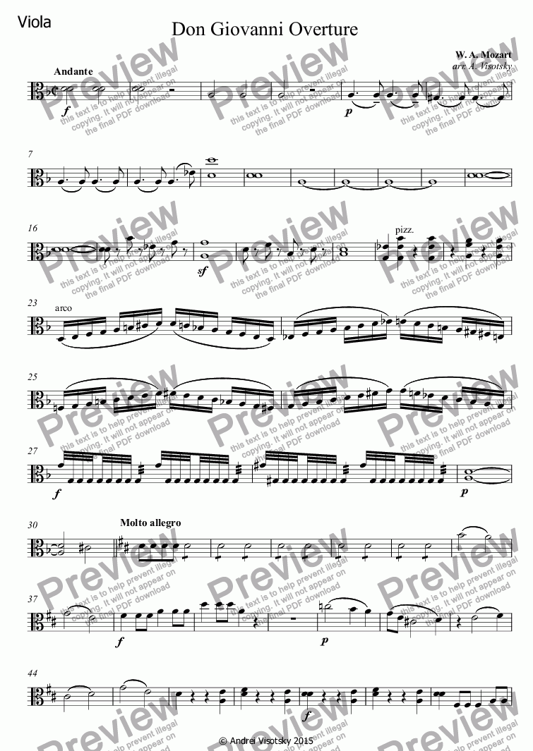 page one of the Viola part from Don Giovanni | Don Juan Overture