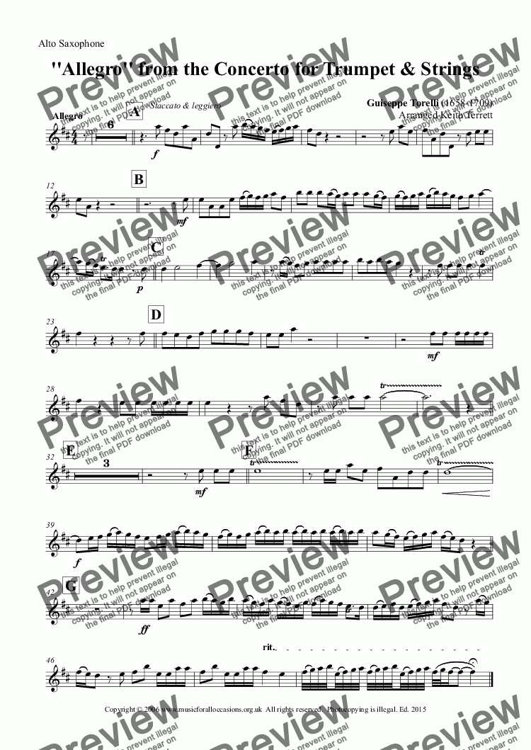 page one of the Alto Saxophone part from Allegro from Torelli's Trumpet Concerto in D arr. for Alto Saxophone & Keyboard