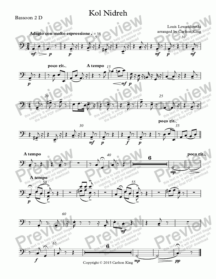 page one of the Bassoon 2 D part from Kol Nidreh (violin + chamber orchestra)