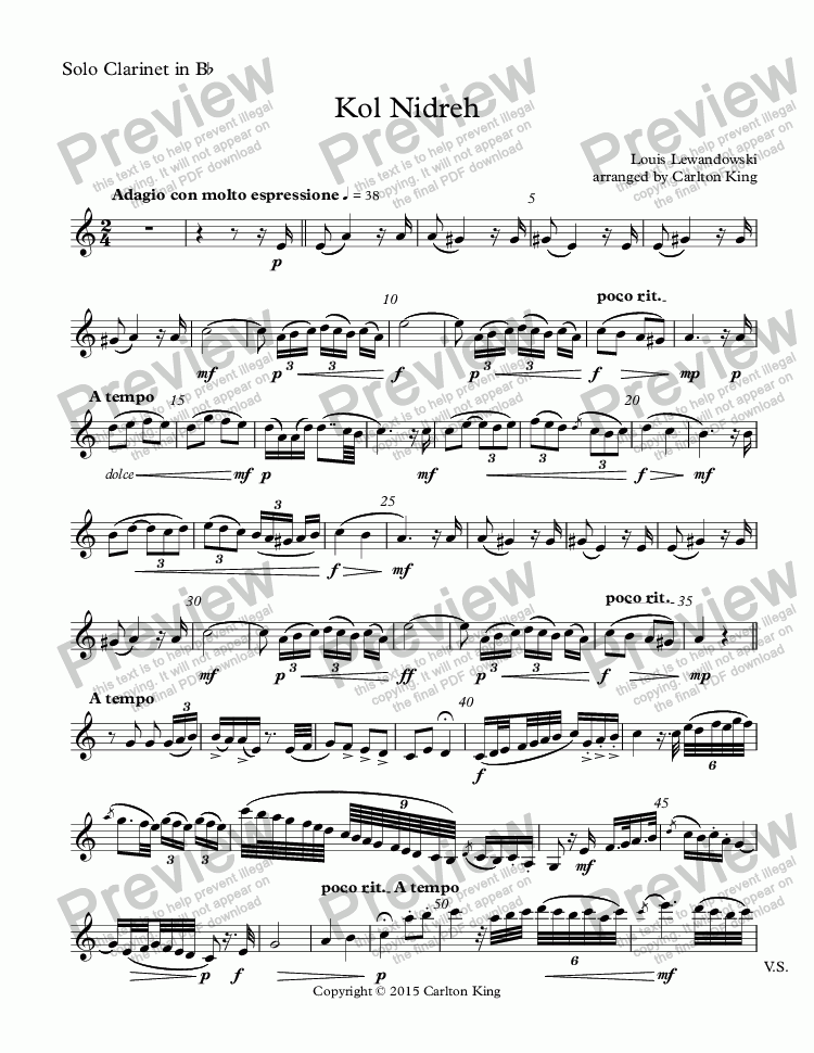 page one of the Solo Clarinet in B^b part from Kol Nidreh (clarinet + flexible winds/band)