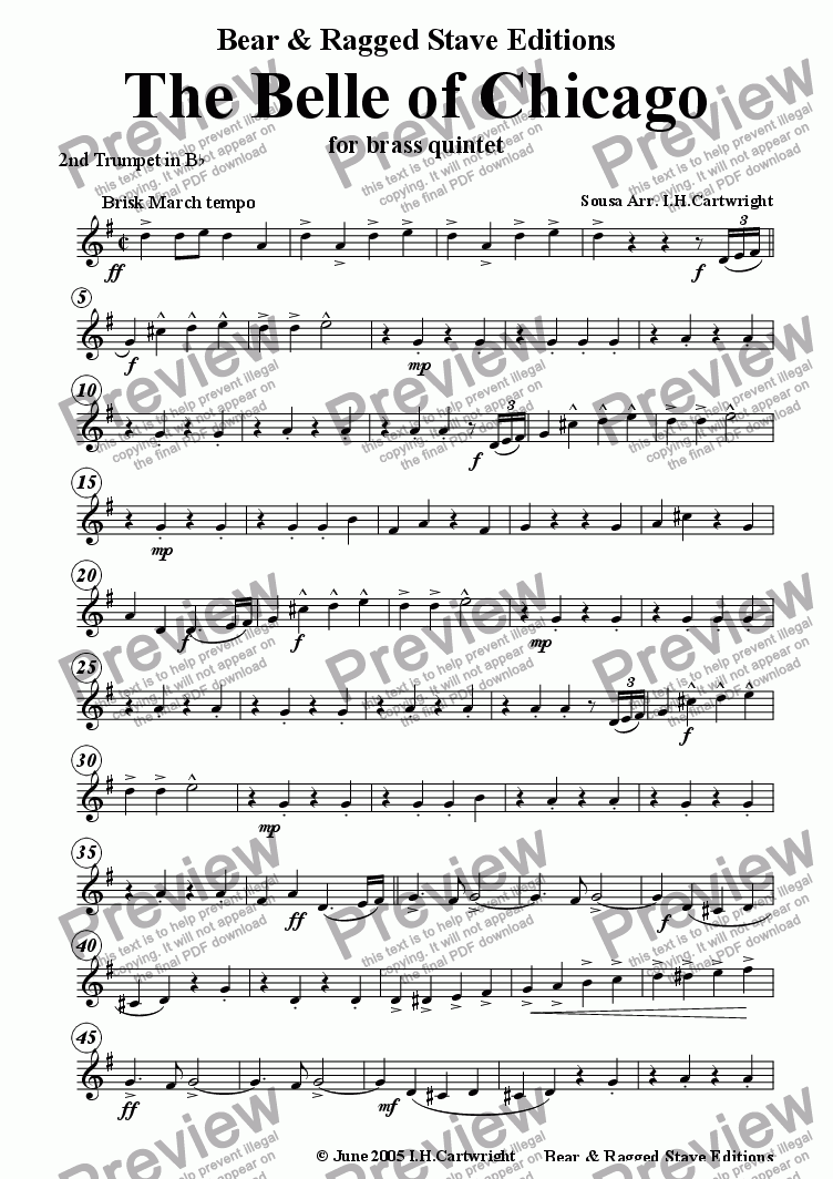 page one of the 2nd trumpet Bb part from The Belle of Chicago march for brass quintet