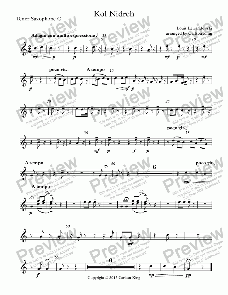 page one of the Tenor Saxophone C part from Kol Nidreh (clarinet + flexible winds/band)