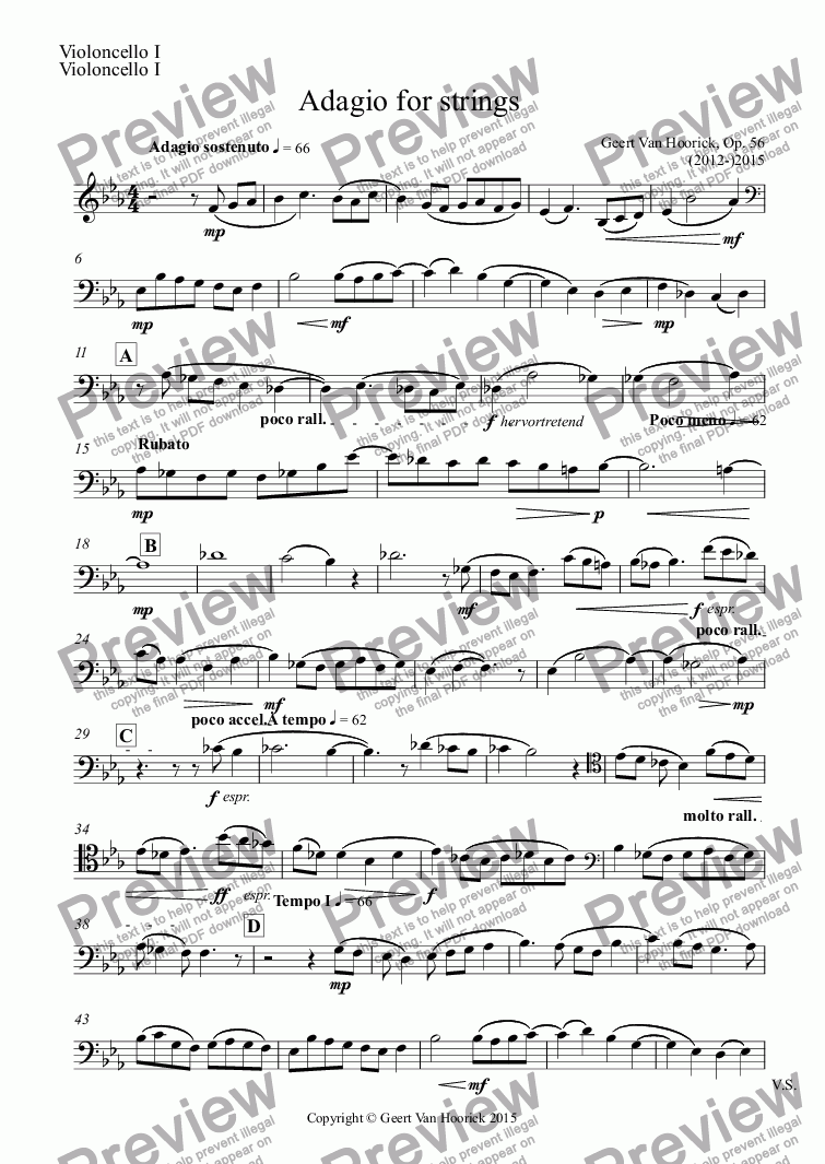 page one of the Violoncello I part from Adagio for strings, Op. 56