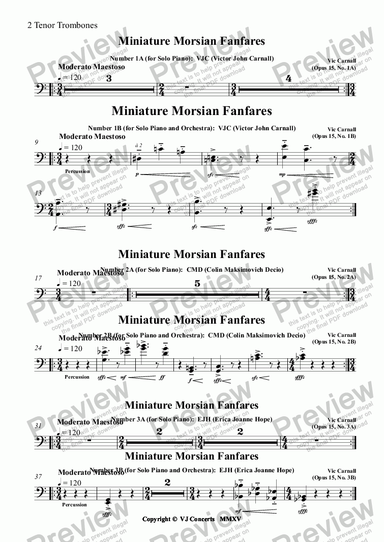 page one of the 2 Tenor Trombones part from Miniature Morsian Fanfares Number 1A (for Solo Piano):  VJC (Victor John Carnall)
