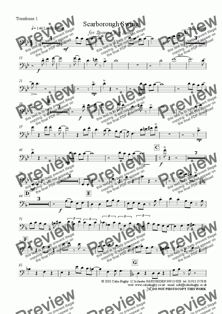 page one of the Trombone 1 part from Scarborough Swing