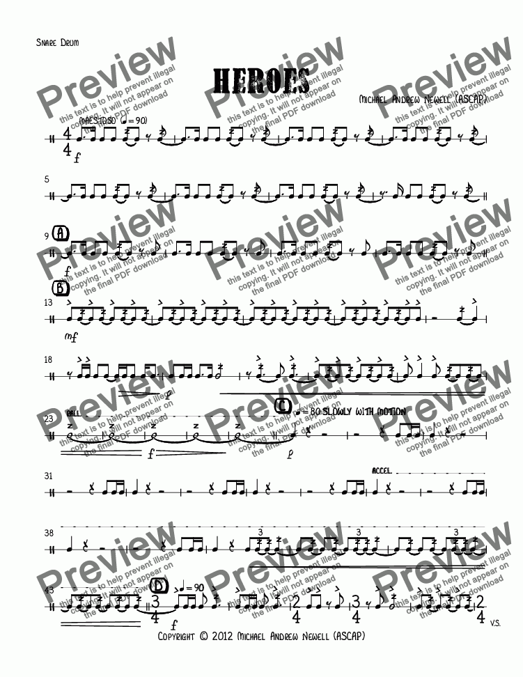 page one of the Snare Drum part from Heroes
