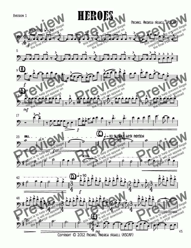 page one of the Bassoon 1 part from Heroes