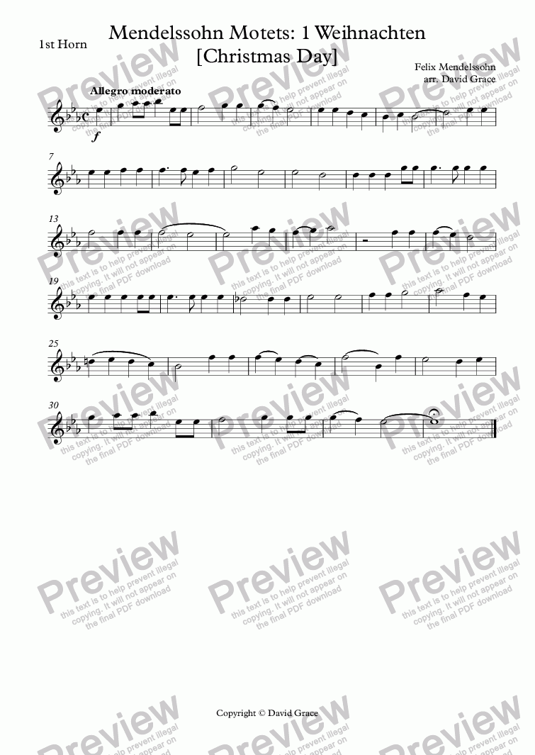 page one of the 1st Horn part from Mendelssohn Motets: 1 Weihnachten [Christmas Day]