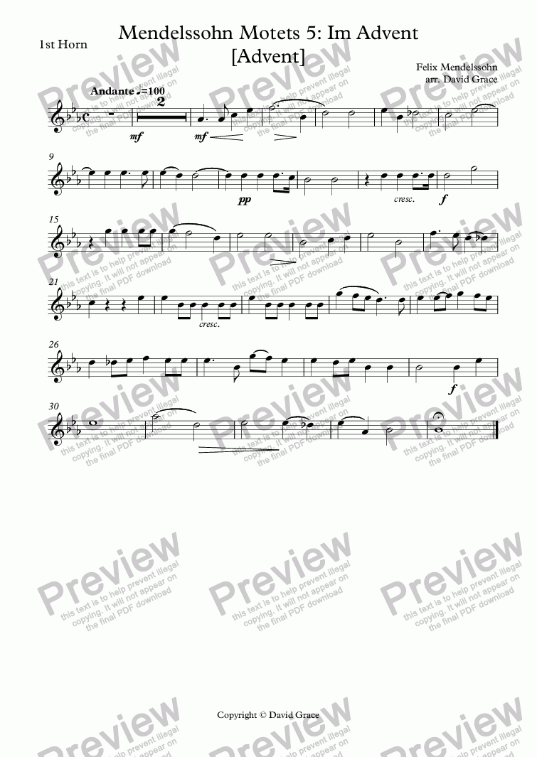 page one of the 1st Horn part from Mendelssohn Motets 5: Im Advent [Advent]