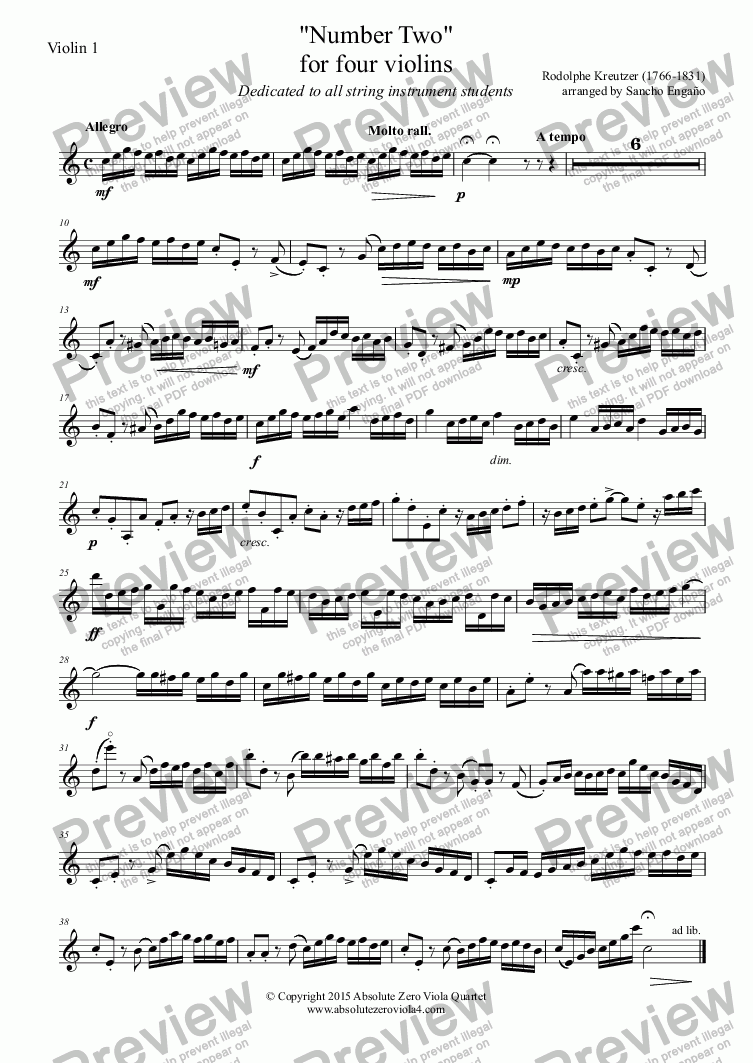 "page one of the Violin 1 part from Kreutzer - ""Number Two"" - for four violins"