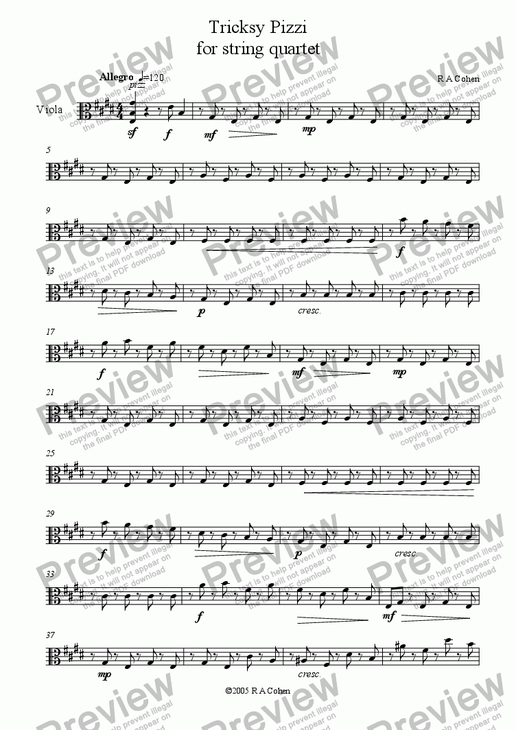page one of the viola part from TRICKSY PIZZI - for string quartet