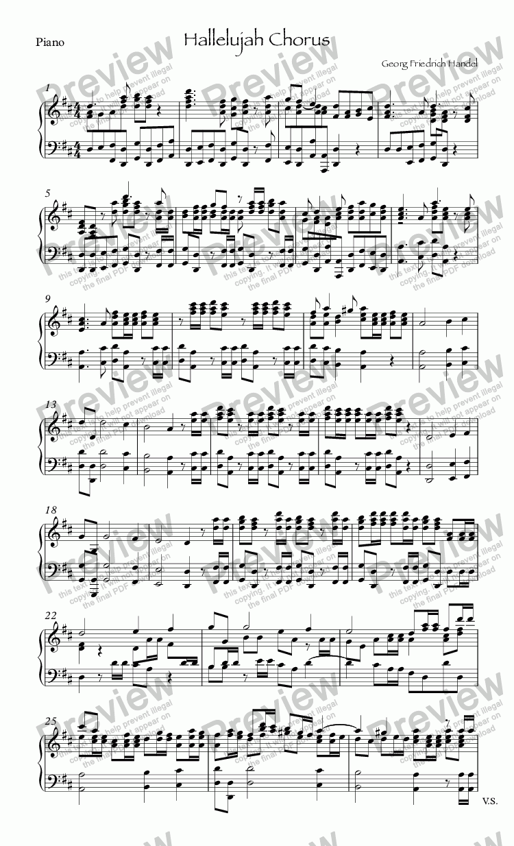 page one of the Piano part from Hallelujah Chorus