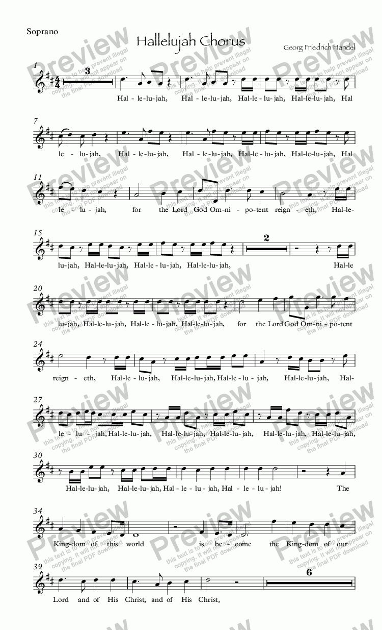 page one of the Soprano part from Hallelujah Chorus