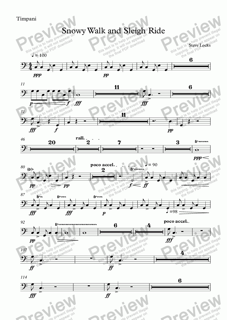 page one of the Timpani part from Snowy Walk and Sleigh Ride