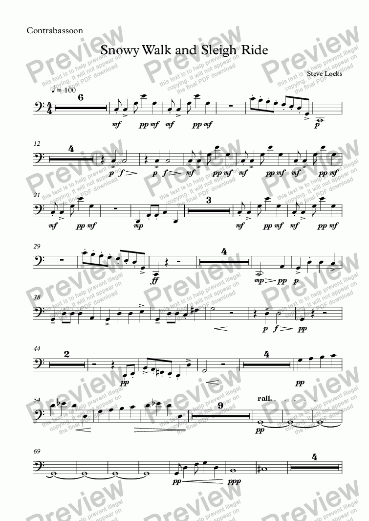 page one of the Contrabassoon part from Snowy Walk and Sleigh Ride