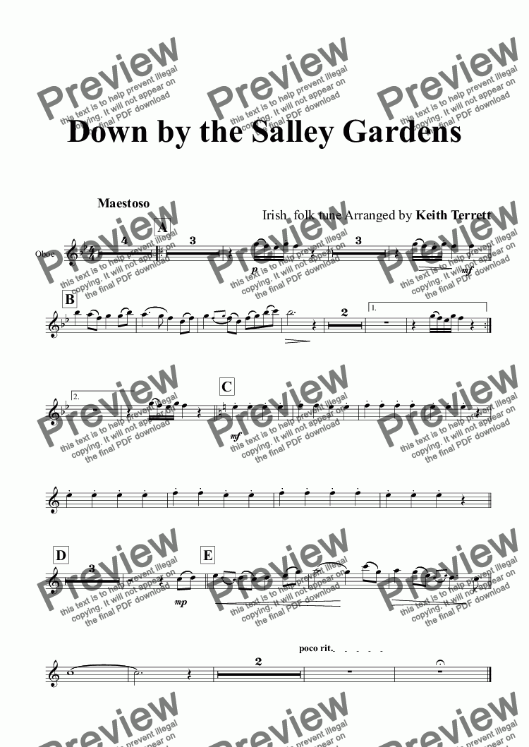 page one of the Oboe part from Down by the Salley Gardens for Young Symphonic Band